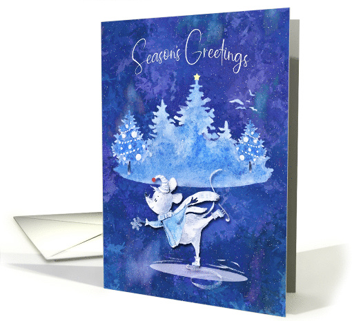 Season's Greetings Ice Skating Mouse Catching a Snowflake card