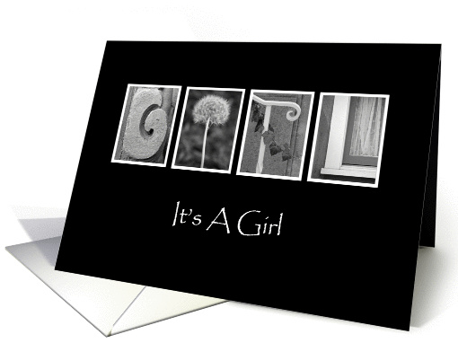 Girl - Birth Announcement - Alphabet Art card (857815)