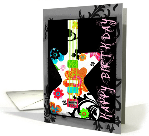 Happy Birthday, Bright Floral Guitar on Grunge Border!! card (950416)