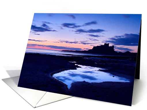 Bamburgh Castle pre dawn - Northumberland Coast - Blank card (877295)