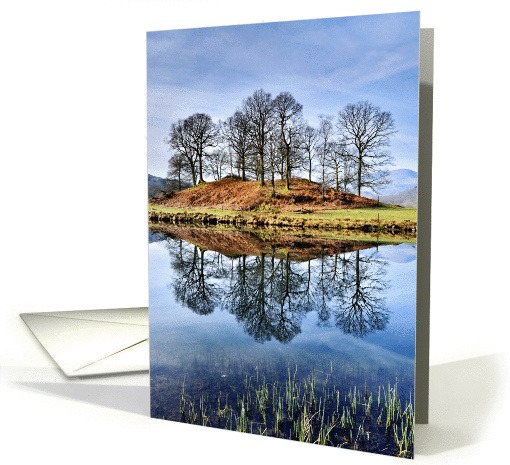 Reflected trees, River Brathay - The Lake District - customisable card