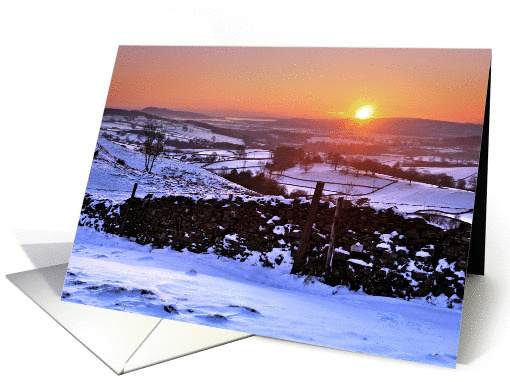 Snowy Winter sunset on The Helm, Kendal, Cumbria - Blank card (878161)