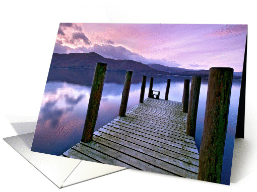 Tranquil lake and jetty after sunset - Blank card (881978)