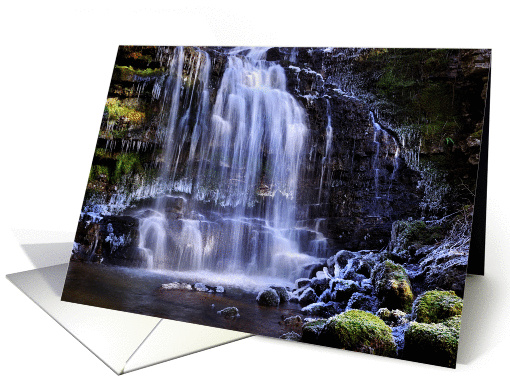Winter waterfall partly frozen card (883017)