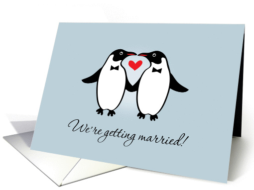 Gay Penguins Wedding Announcement card (1130804)