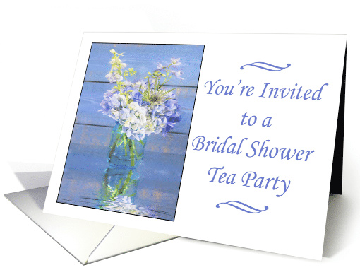 Your Invited To A Bridal Shower Tea Party Blue Hydrangeas card
