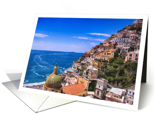 Mediterranean Sea And Town Of Positano Italy Blank Any Occasion card