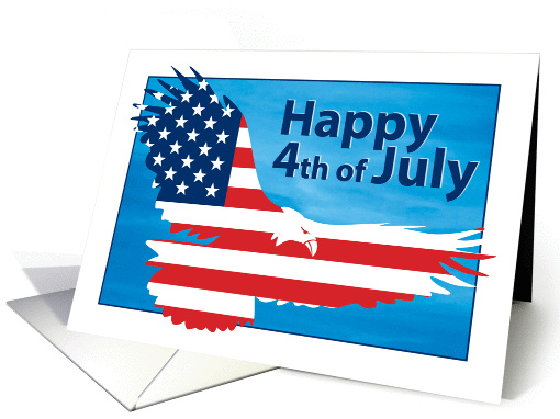 Happy 4th of July American Flag Bald Eagle card (1290998)