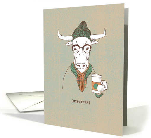 Hipster Cow Pun with Coffee, Funny Birthday card (1349248)