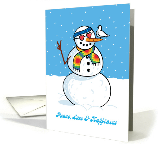 Hippy Snowman with Dove, Humorous Christmas card (1390100)