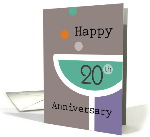Happy 20th Anniversary Champagne Glass card (1482762)