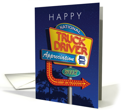 National Truck Driver Appreciation Week Vintage Truck Stop Sign card