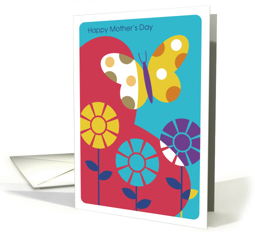 Modern Art, Butterfly and Sun Flowers Over Heart, Mother's Day card