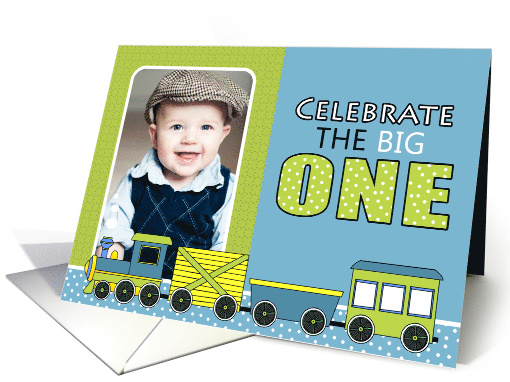 Cute Train Themed First Birthday Party Photo Invitations card