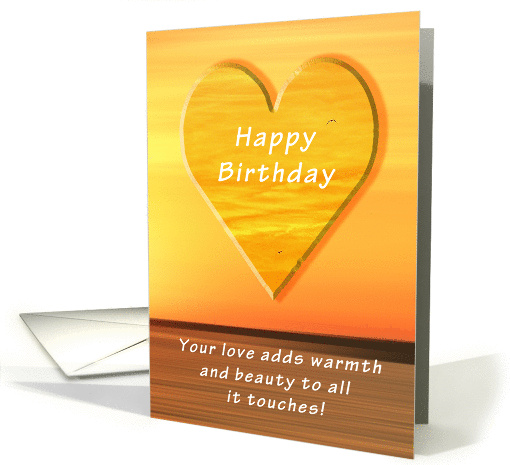 Happy Birthday, Sunset and Heart card (1039387)