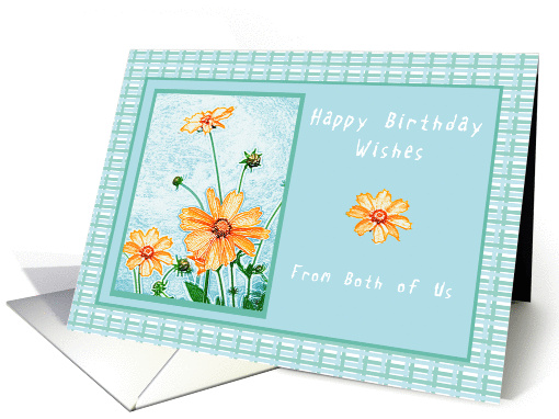 Happy Birthday From Both of Us, Orange flowers, gingham backdrop card
