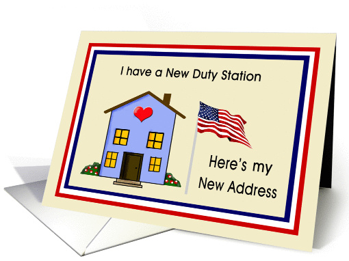 Military Individual, New Home Address - House & American Flag card