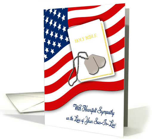 Military Sympathy for Loss of Son-In-Law - American Flag, Bible card