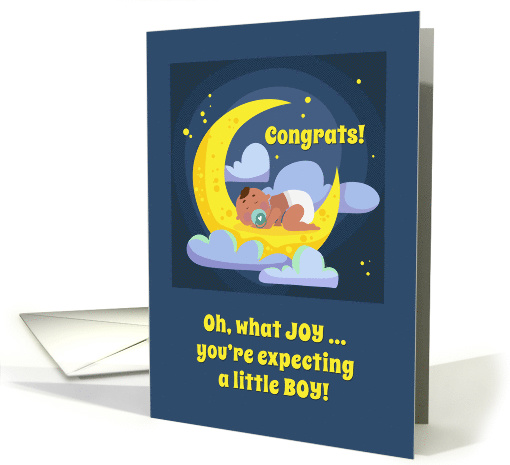 Congrats, Expecting Boy, Brown Skin, Sleeping Baby in Moon, Stars card