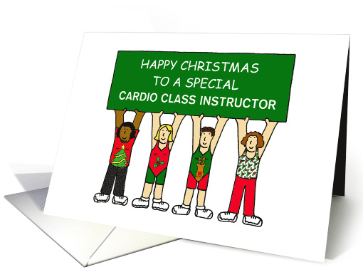 Happy Christmas Zumba Teacher, Festive Cartoon Ladies. card (1504316)