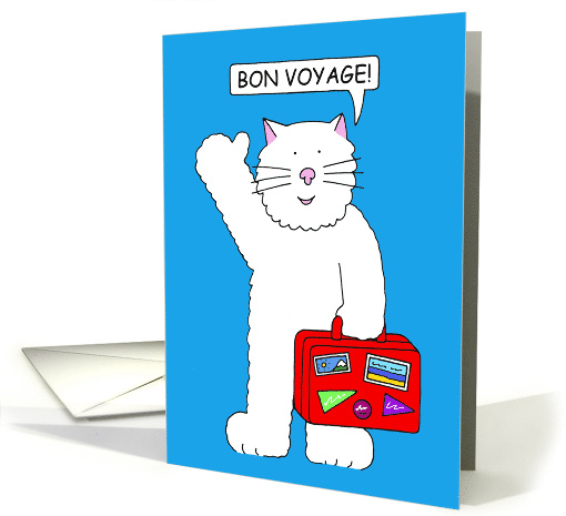 Bon Voyage for Child, Cartoon Cat with Red Suitcase. card (1558938)