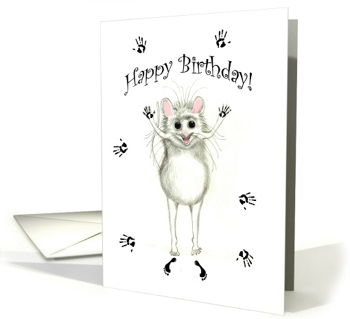 Happy Birthday Let's Paint the Town Excited Mouse card (1154194)
