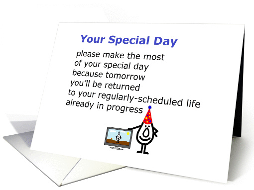 Your Special Day - a funny birthday poem from all of us card (1294490)