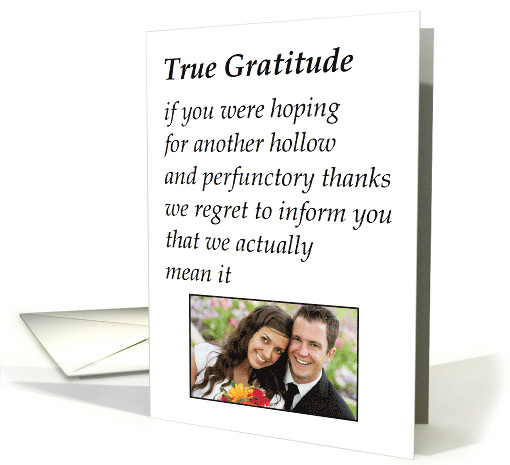 True Gratitude - a funny thank you for the wedding gift poem card