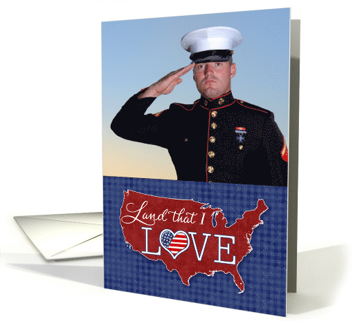 Memorial Day - Land that I LOVE - US heart flag custom photo card