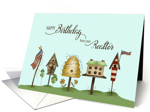 Birthday from your Realtor, Birdhouses & Flags card (1507664)