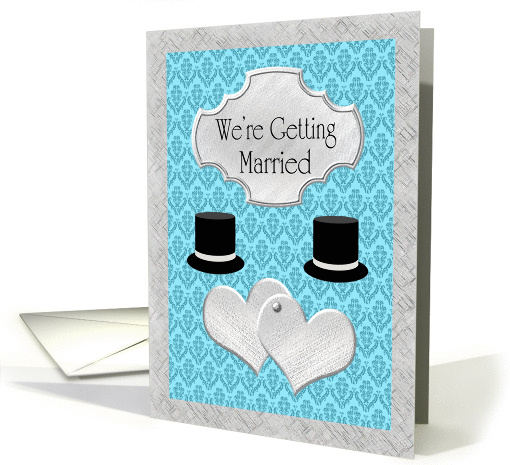 Gay Wedding Announcement - Silver Hearts & Top Hats card (1133124)