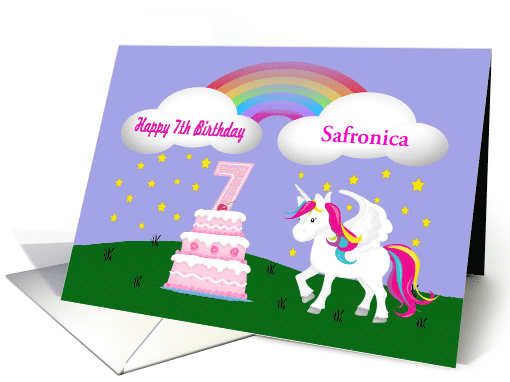 Custom Unicorn & Rainbow 7th Birthday -Unicorn, Rainbow,... (1401434)