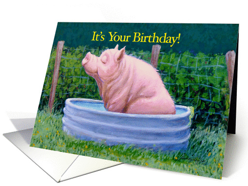 Pig in Water Enjoying His Birthday! card (1096378)