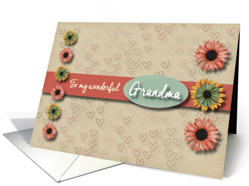 Flowers and hearts Valentine for Grandma card (1324398)