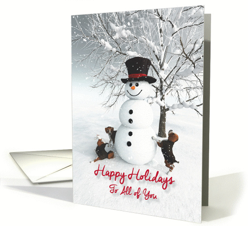Happy Holidays to All of You, Fantasy Snowman with Beagle Dogs card
