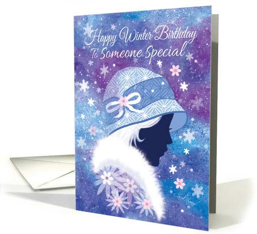 Winter Birthday - Someone Special. Girl in Blue Hat. card (1181424)