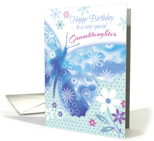 Birthday for Granddaughter - Blue Decorative Butterfly... (1229550)