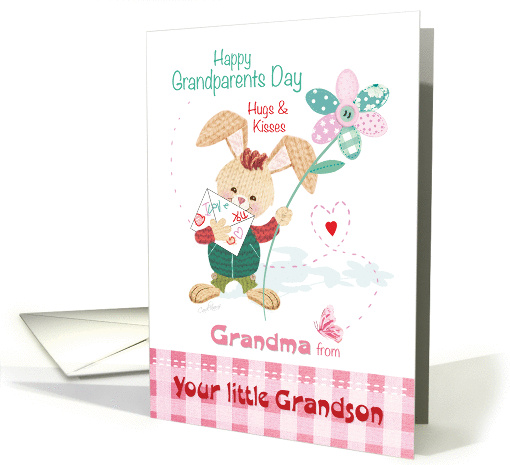 Grandma, Grandparent's Day, from Grandson - Bunny with Flower card