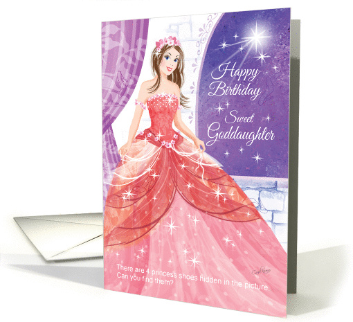 Goddaughter, Princess, Activity - Pretty Princess in Ball Gown card