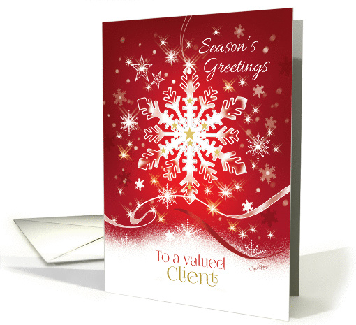 Business Christmas for Client, Elegant White Snowflake on Red card