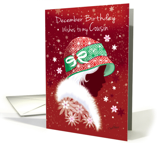 December Birthday, Cousin - Pretty Silhouetted Girl in Red Hat. card