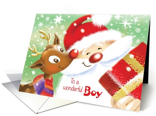 Boy, Christmas - Cute Little Reindeer & Santa with Present card