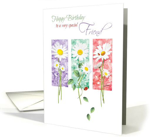 Birthday, Friend, 3 Long Stem Daisies On Color Panels... (1372930)