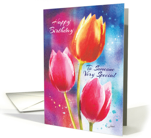 Birthday, Someone Special - 3 Vibrant Tulips on... (1387742)