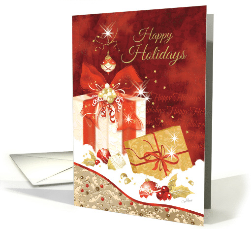 Happy Holidays, Stylish, Presents, Ornaments and Heart card (1450280)