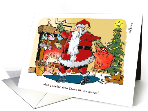 Santa and a sack of meat and greetings from your meat supplier card