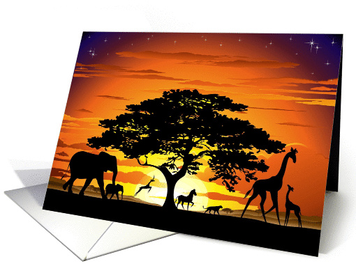 Wild Animals on Savannah Sunset card (1177448)