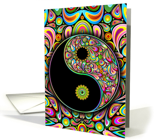 Blank Note Card, Yin and Yang Psychedelic Art Symbol card (1181062)