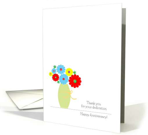 Employee Anniversary Cards, Cute Colorful Flowers In A Vase card