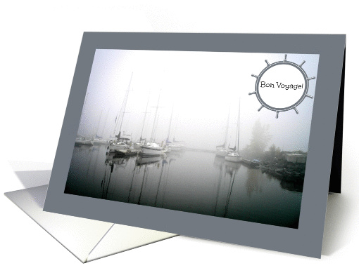 Bon Voyage -- Sailboats and Reflections in the Foggy Yacht Club card